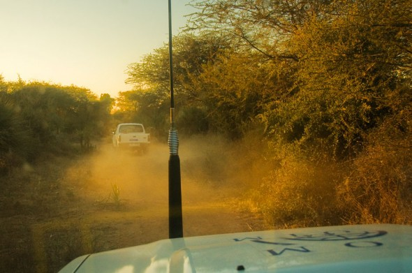 Chasing last light, an IOM convoy makes its way through the bush toward a far-flung building project.