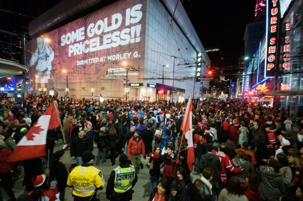 Late night crowds at the epicentre of Robson and Granville streets.