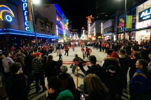 Impromptu street hockey games sprung up across downtown Vancouver through the Olympics.