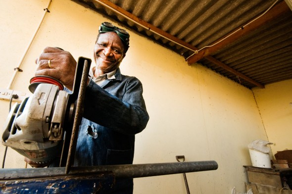 This welder returned to Zimbabwe through an IOM sponsorship for small business start-ups.