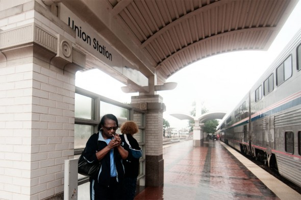 A smoke break at Dallas Union Station as rains from Hurricane Hermine lash the platform.