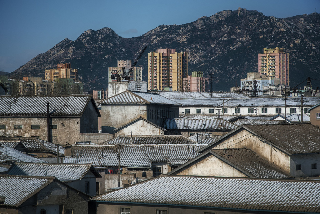 Thatched Skyline: Traditional Korean roofs frame a view of Kaesong, an industrial centre in North Hwanghae Province. Formerly part of South Korea after the peninsula was divided along the 38th parallel following World War II, the city changed hands to the North after the end of the Korean War in 1953.